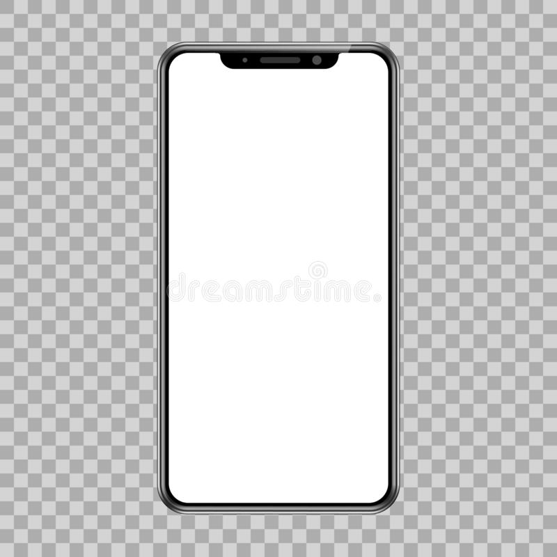 Black smartphone with empty touch screen, new model - for stock vector illustration