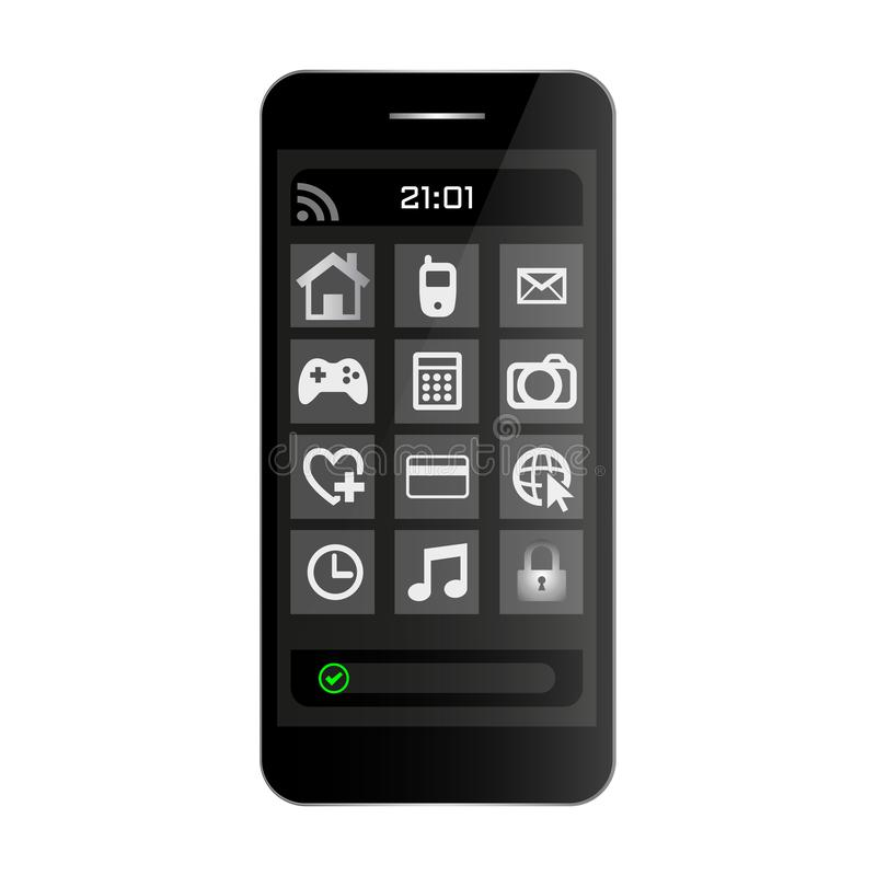 Black smartphone mobile phone front view with menu on screen and clock. Smartphone black color on white bckground vector eps10 royalty free illustration