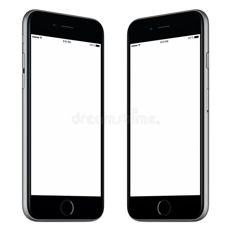 Black smartphone mockup slightly rotated both sides. Black mobile smart phone mock-up. This mock-up includes both sides of slightly rotated white smart phone royalty free stock image