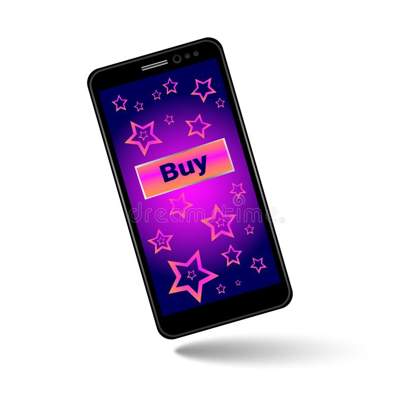 Black smartphone with purple blue pink background with button, mobile phone isolated, royalty free illustration