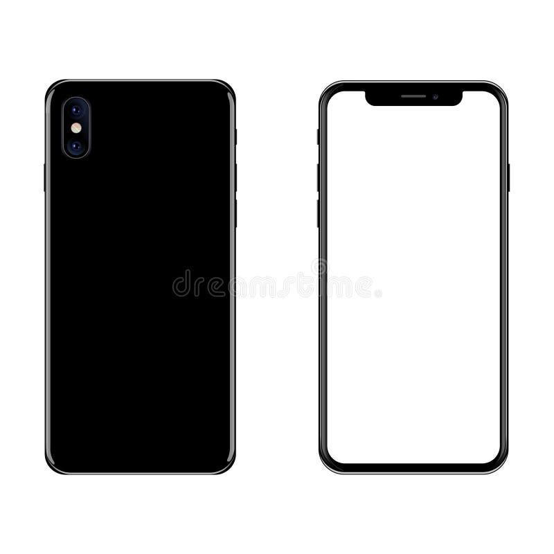Black smartphone on a white background. Banner. Vector image. stock illustration