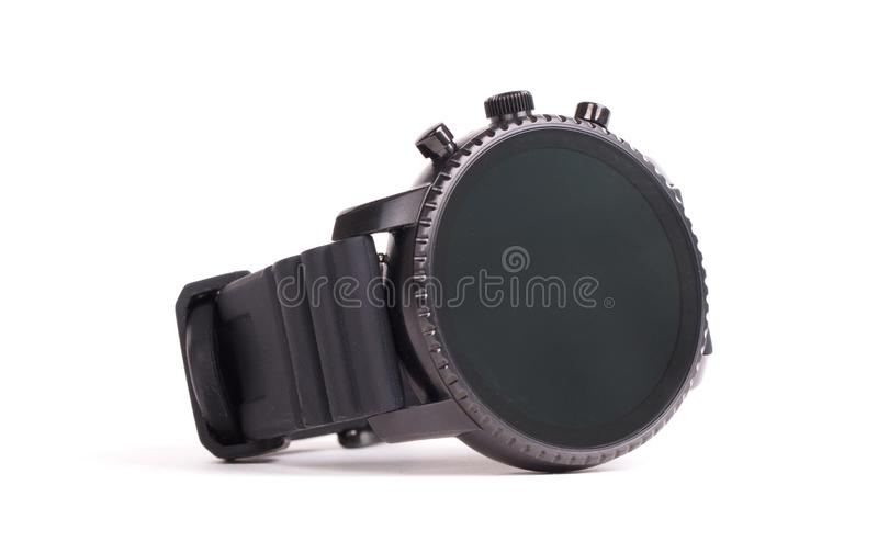 Black smartwatch. On a white background royalty free stock images