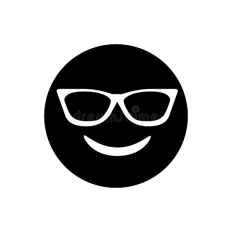 Black smiley face with sunglasses icon. The black smiley face with sunglasses icon royalty free illustration
