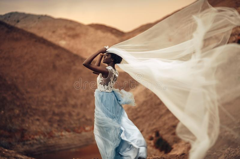 Black bride stands and holds waving bridal veil in her hands on background of beautiful landscape. Black smiling bride in long wedding dress stands and holds stock photography