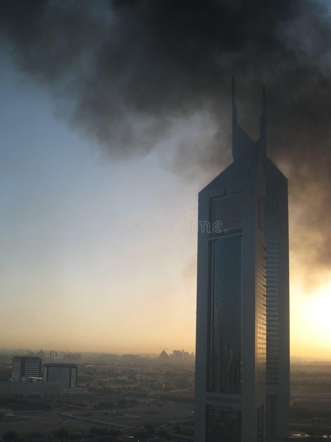 Black Smoke At Emirates Towers royalty free stock photography