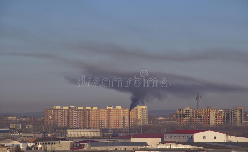 Black smoke emissions stock photos