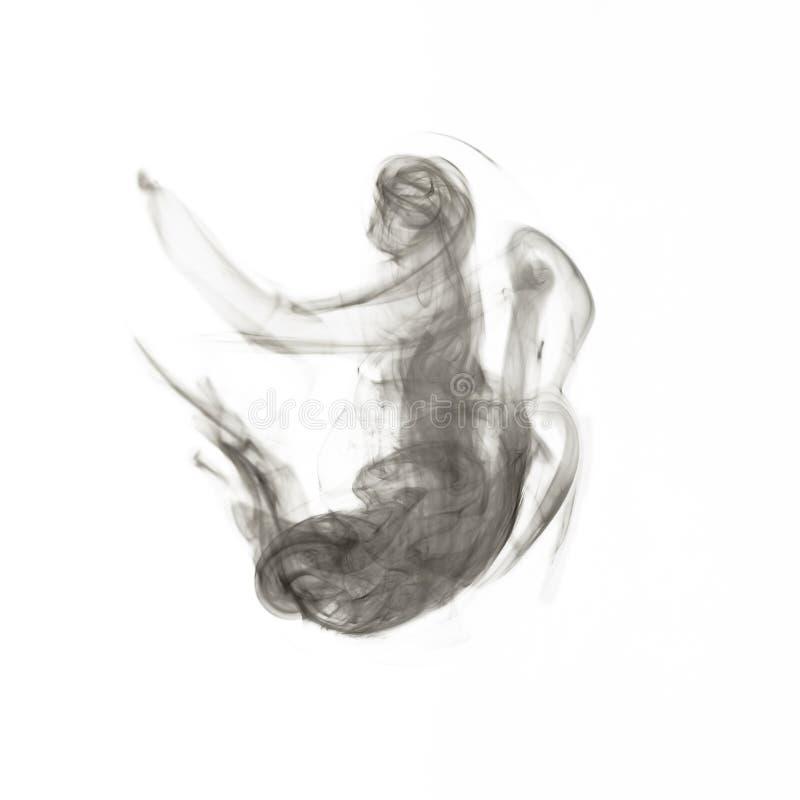 Black smoke isolated on white stock images