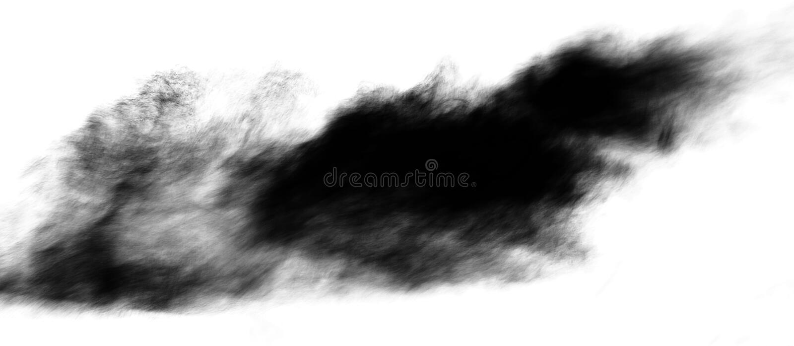 Black smoke isolated on white background stock images