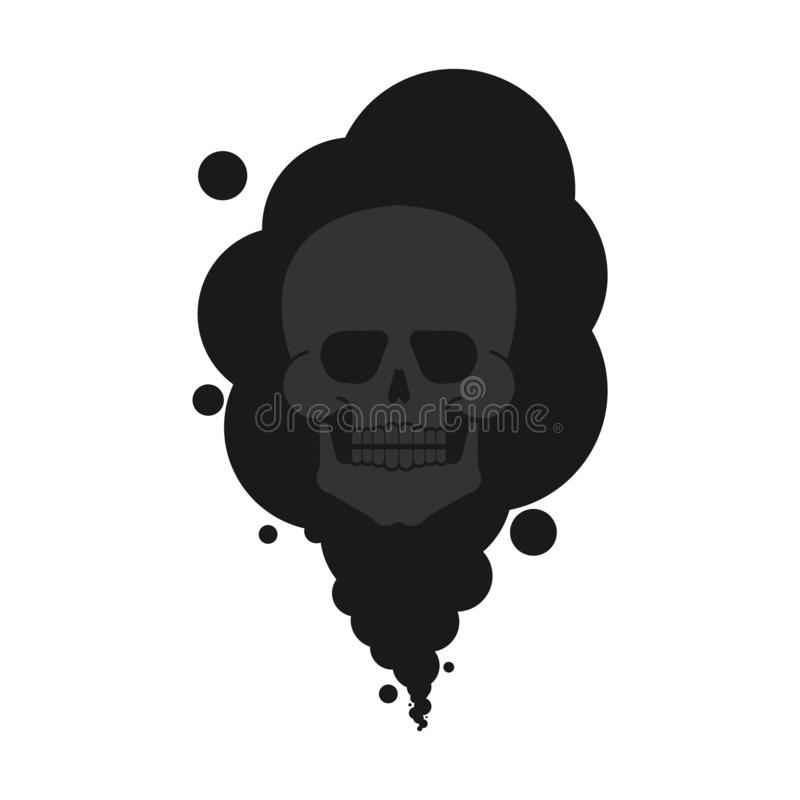 Black smoke and skull isolated. Death and pollution. Harmful chemical production. Poisons the environment. Factory Smog vector illustration
