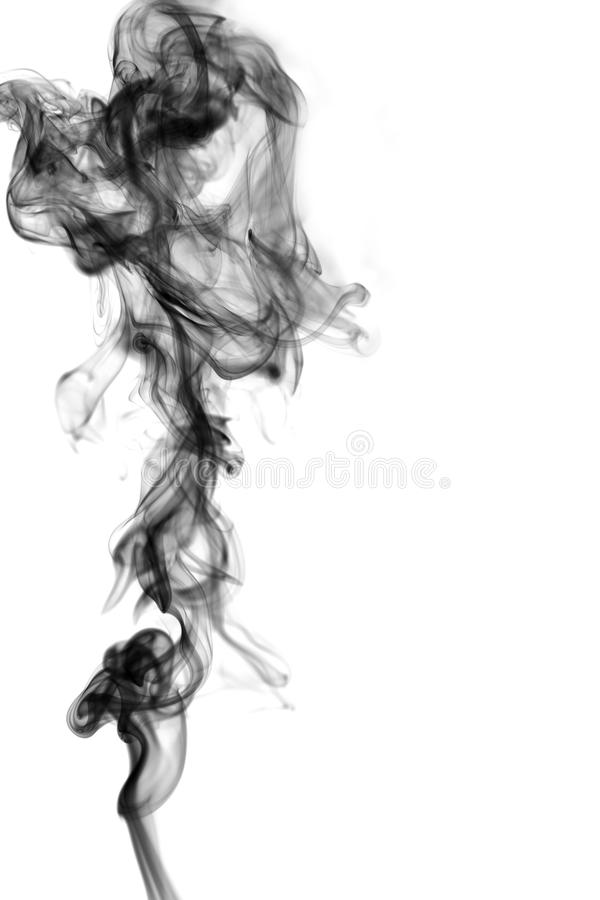 Black smoke on white background royalty free stock photo