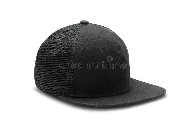Black snapback cap isolated on white background with clipping path. Black snapback cap isolated on white background with clipping path royalty free stock images