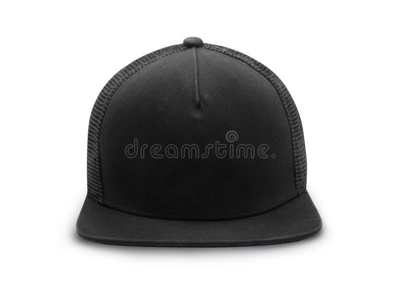 Black snapback cap isolated on white background with clipping path. Black snapback cap isolated on white background with clipping path stock photo