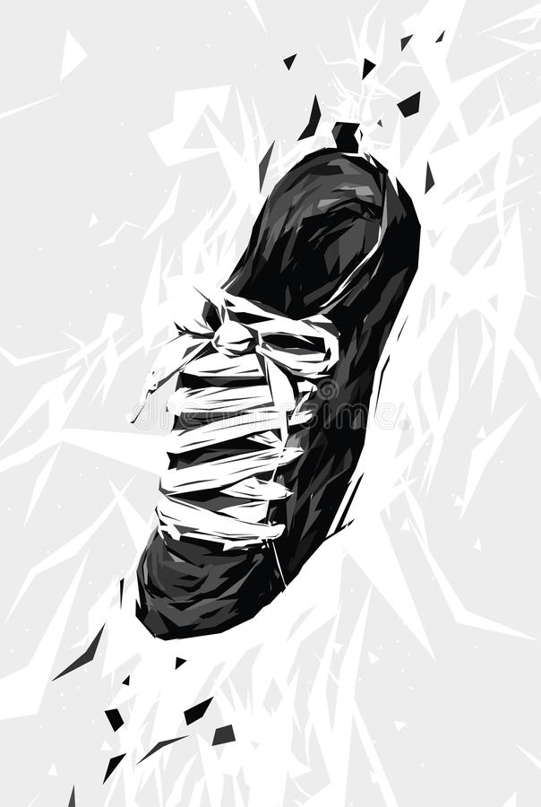 Download Black Sneaker stock vector. Image of laces, sneaker, grey - 25802807