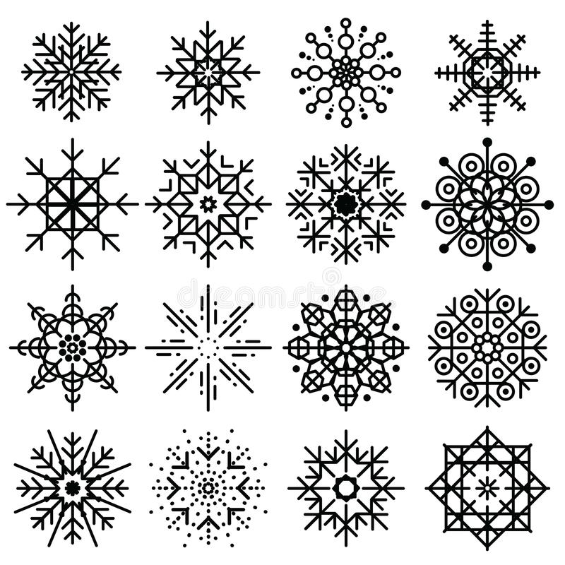 Black snowflakes big set of different variations on white background. Thin linear snow collection. New year snow. Decoratins. Winter style vector illustration