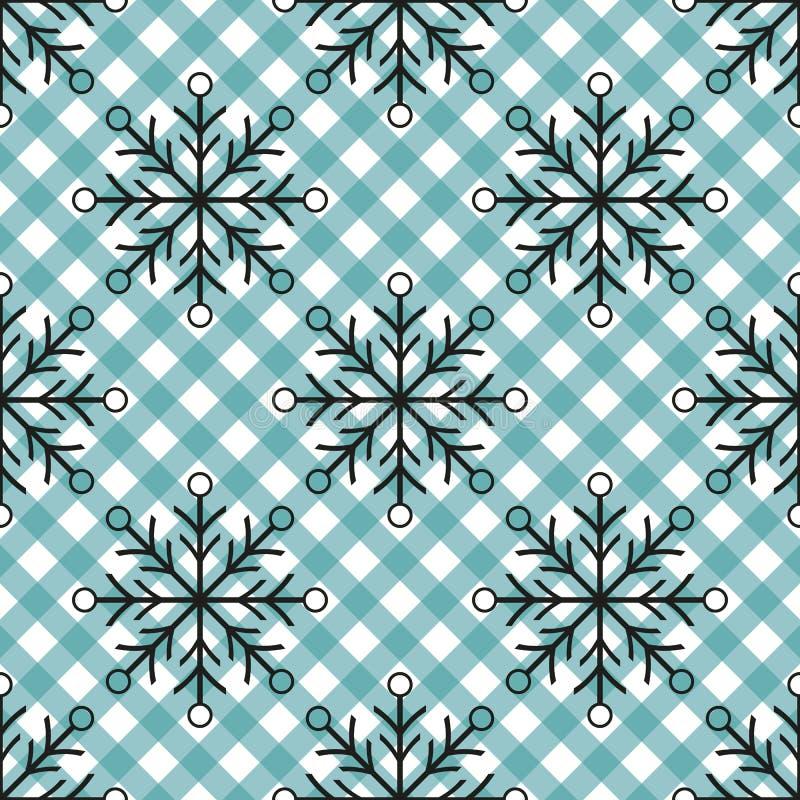 Black snowflakes seamless pattern on blue tartan background. Winter holidays. Vector illustration. eps10 royalty free illustration