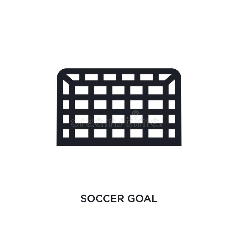 Black soccer goal isolated vector icon. simple element illustration from football concept vector icons. soccer goal editable black. Logo symbol design on white vector illustration