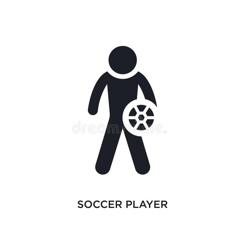 Black soccer player isolated vector icon. simple element illustration from football concept vector icons. soccer player editable. Black logo symbol design on royalty free illustration