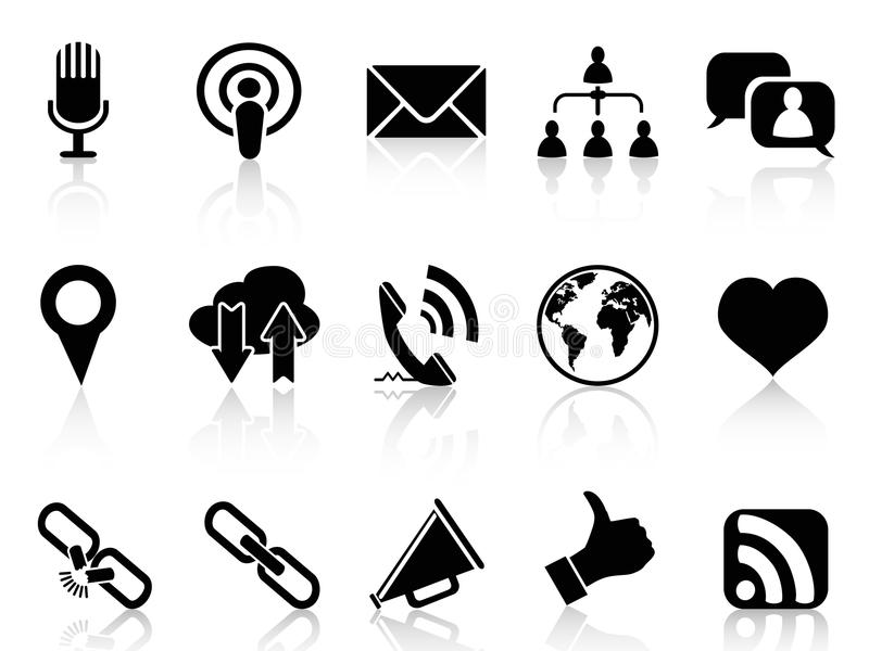 Black social communication icons set stock illustration