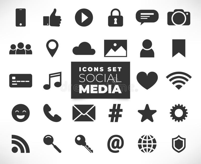 Black social media icons set. Social media flat icons set isolated on white backgrond. 3d concept with chat, video, mail, phone, hashtag, like, music sign. Web royalty free illustration