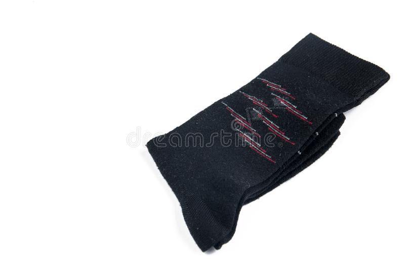 Black socks isolated on a white background.Copy space. Cushioned clipping mannequin invisible cotton path plain up nobody female cuff soft solid volume fabric stock photo