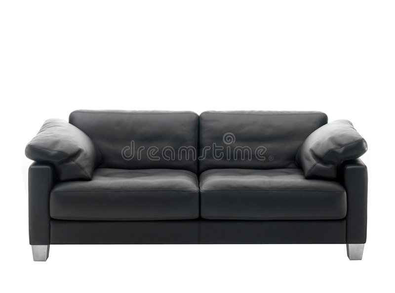 Black sofa. Black leather sofa isolated over white stock photography