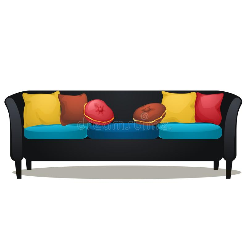 Isolated Black Couch With Colored Pillow Stock