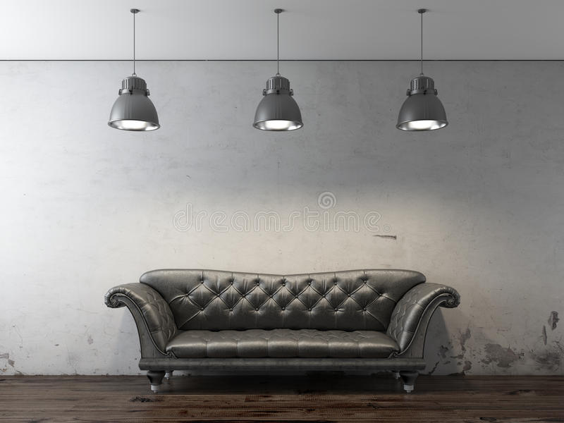 Black sofa in front of grunge wall vector illustration