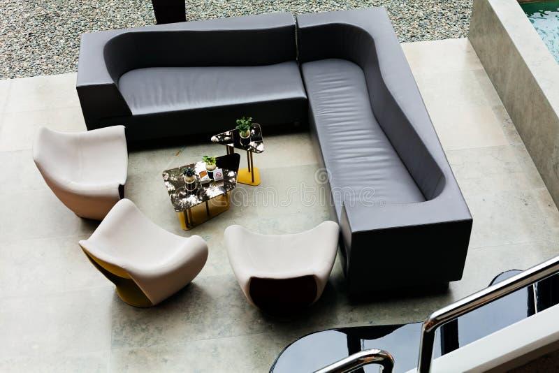 Black sofa set royalty free stock image