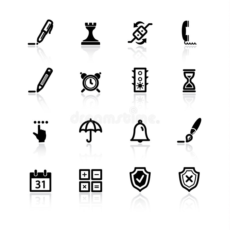 Black software icons. On white background vector illustration