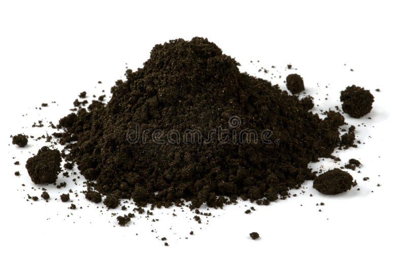 Black soil. Pile of black fertile soil isolated on white