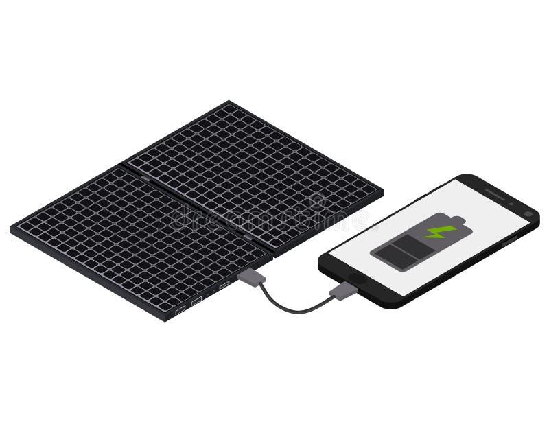 Black Solar panel. Flat isometric. The phone is charging. Black Solar panel. Flat isometric. Modern alternative energy. The phone is charging from the solar royalty free illustration