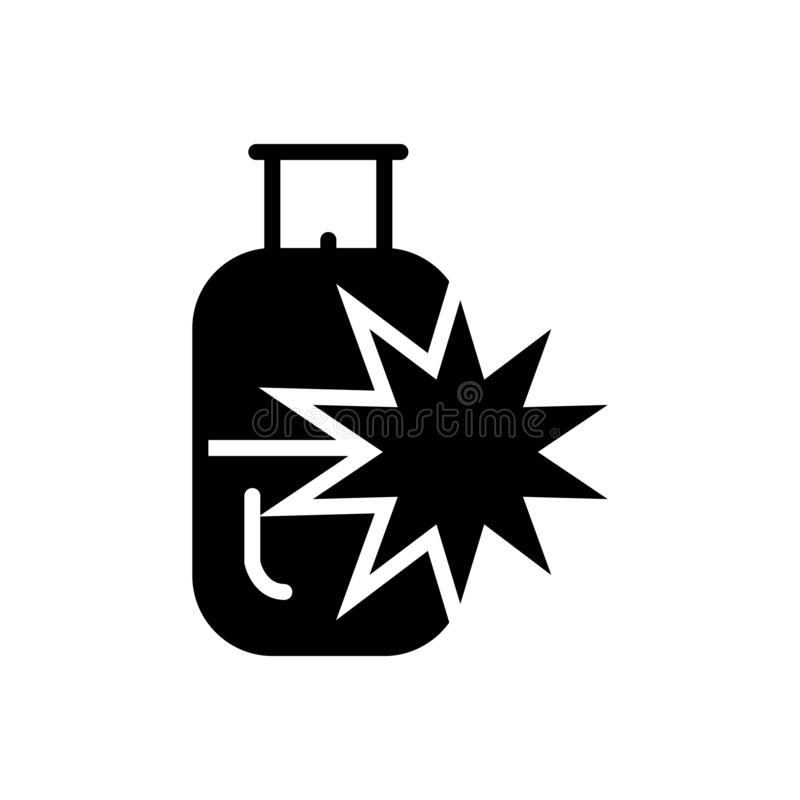 Black solid icon for Blaster, explosion and cylinder. Black solid icon for Blaster, gas, logo, miscellaneous,  explosion and cylinder vector illustration