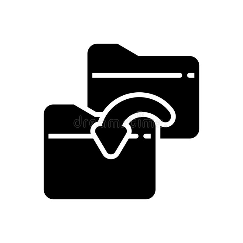 Black solid icon for Folder sharing, copy and duplicate stock illustration