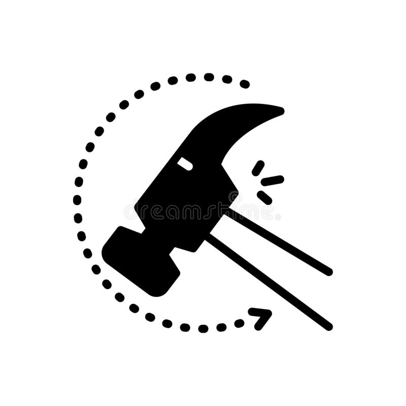 Black solid icon for Indestructible, unbreakable and durable. Black solid icon for Indestructible, durable, infrangible, unspent,  unbreakable and durable royalty free illustration