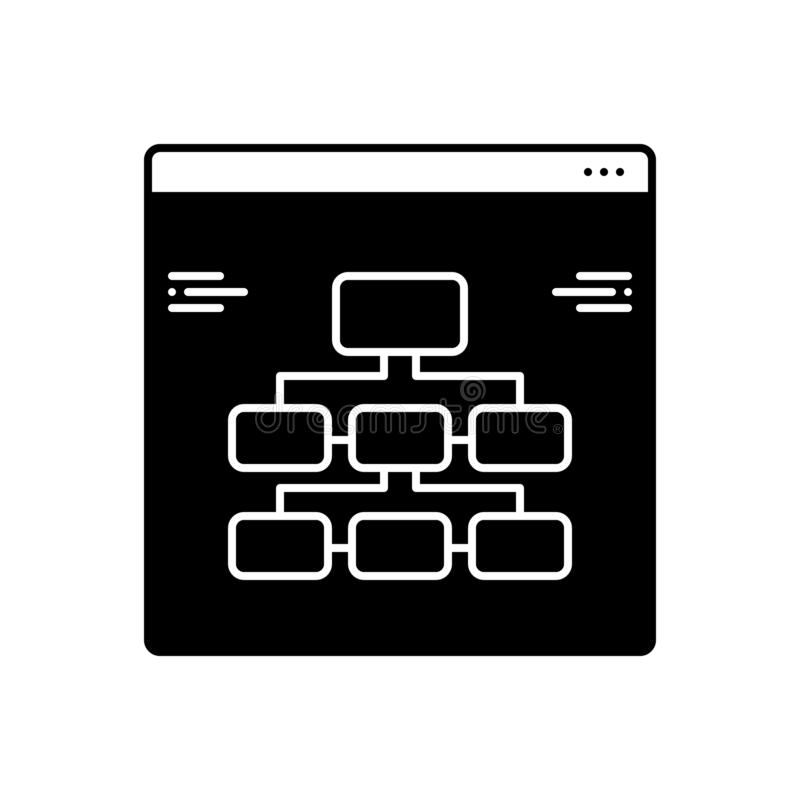 Black solid icon for Information, architecture and technology stock illustration