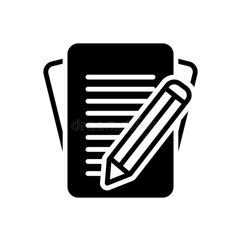Black solid icon for Inscribe, write and compose. Black solid icon for Inscribe, renumber, choreograph, logo,  write and compose stock illustration