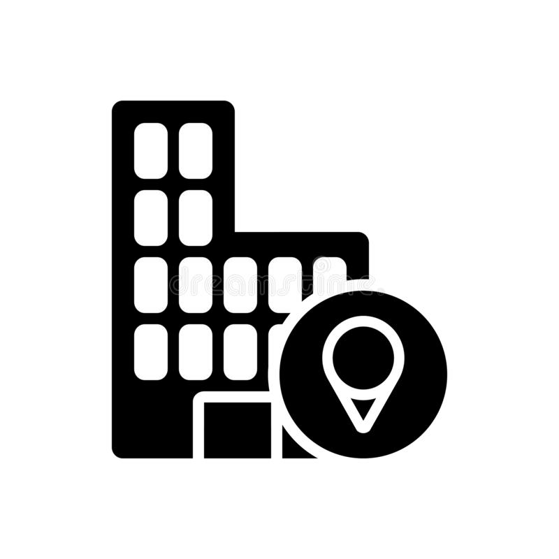 Black solid icon for Location, office and map royalty free illustration