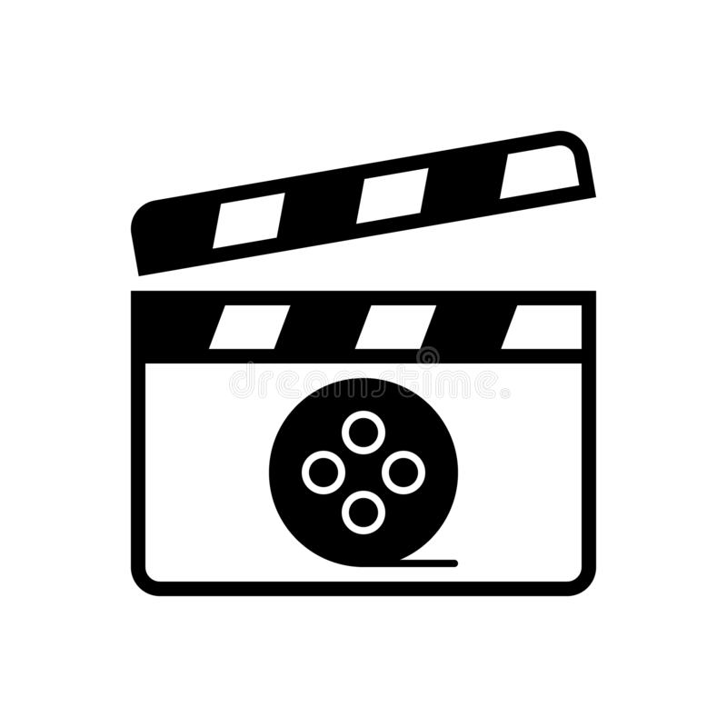Black solid icon for Movie, video and media. Black solid icon for Movie, entertainment, film, logo,  video and media royalty free illustration