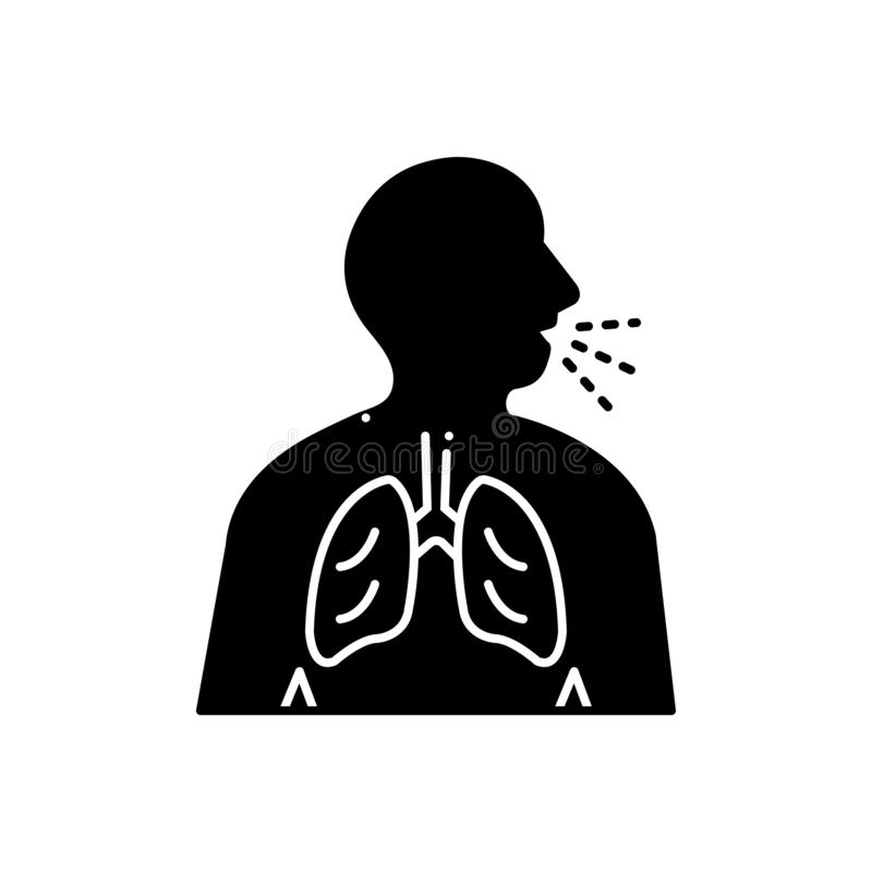 Black solid icon for Respiration trouble, asthma and inhaler. Black solid icon for Respiration trouble, wheezing, breathe, need, medical, respiration,  asthma royalty free illustration