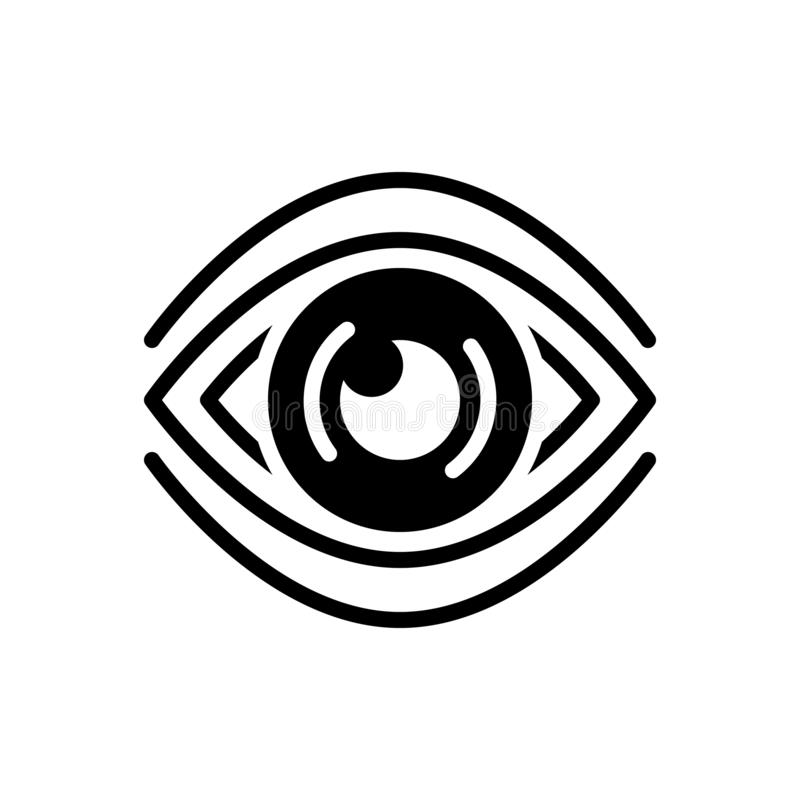 Black solid icon for See, discern and sight. Black solid icon for See, scrutinize, vision, logo, observation,  discern and sight vector illustration