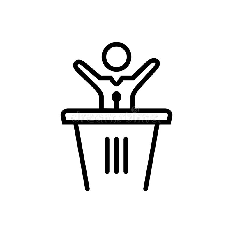 Black solid icon for Speech, politics and leader vector illustration