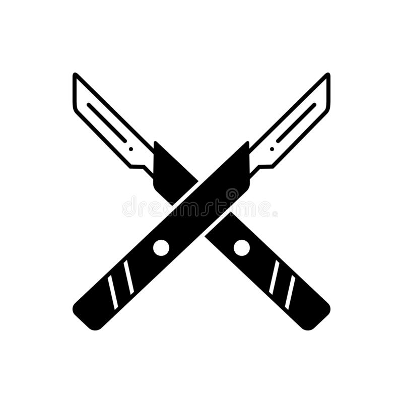 Black solid icon for Surgery knife, equipment and tool. Black solid icon for Surgery knife, surgical, medical, knife, surgery,  equipment and tool stock illustration
