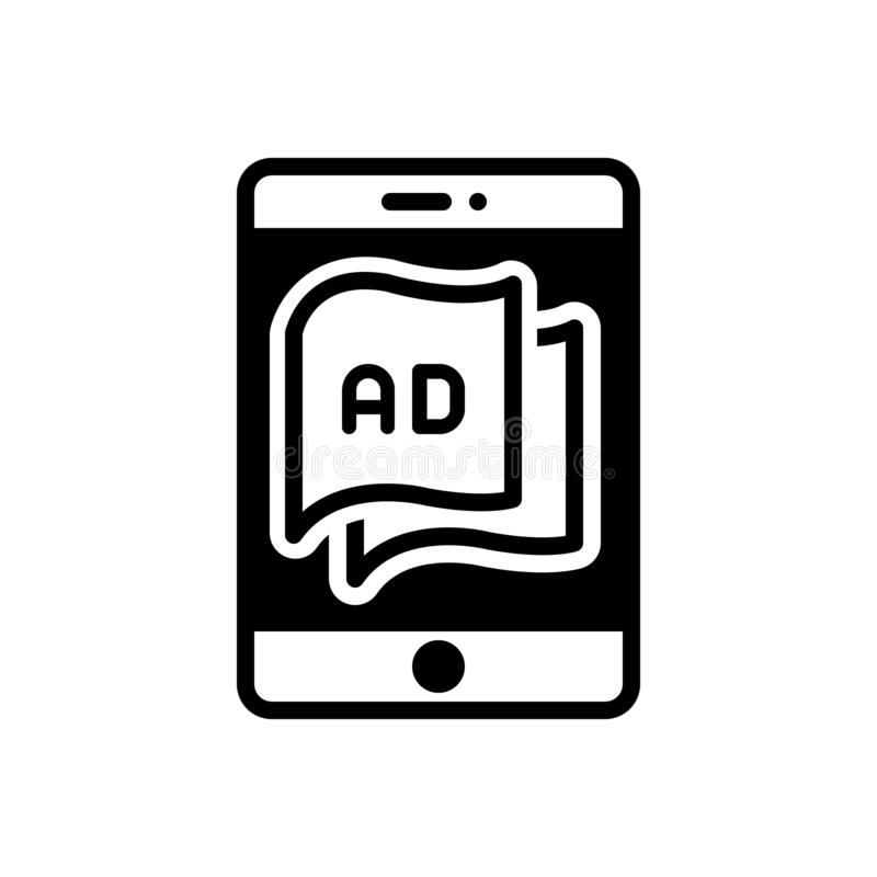 Black solid icon for Tablet Ad, technology and devices vector illustration