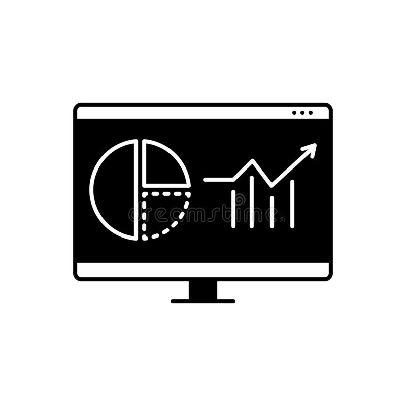 Black solid icon for Web analytics, usability and marketing. Black solid icon for Web analytics, infographic, logo, web, analytics,  usability and marketing stock illustration