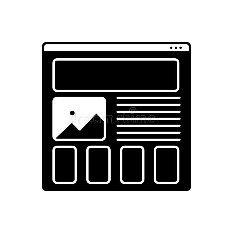 Black solid icon for Wireframing, prototyping and design. Black solid icon for Wireframing, usability, logo, symbol,   prototyping and design royalty free illustration
