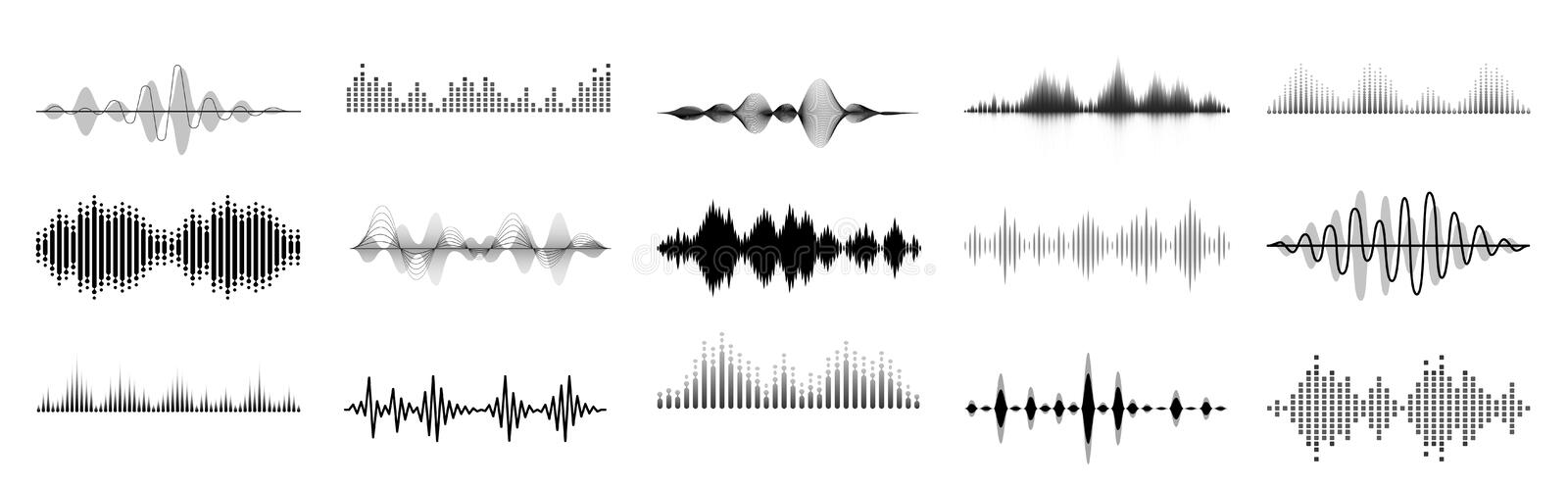 Black sound waves. Abstract music wave, radio signal frequency and digital voice visualisation. Tune equalizer vector. Set. Monochrome volume audio lines stock illustration