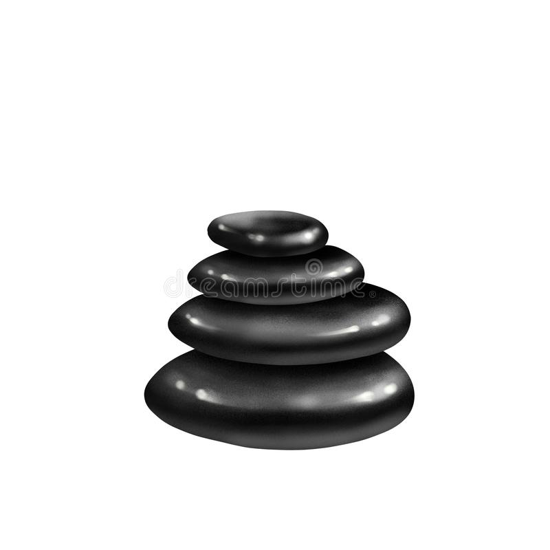 Black Spa Stones isolated. On white background stock illustration