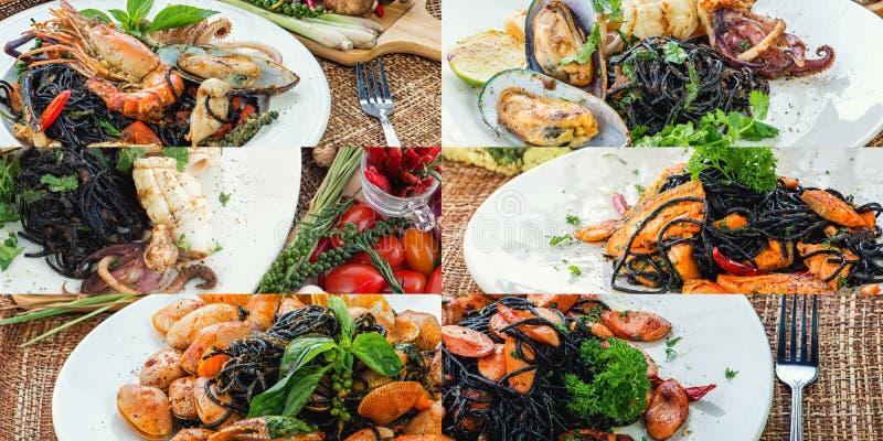 Black spaghetti collage of various plates of  black pasta stock photo