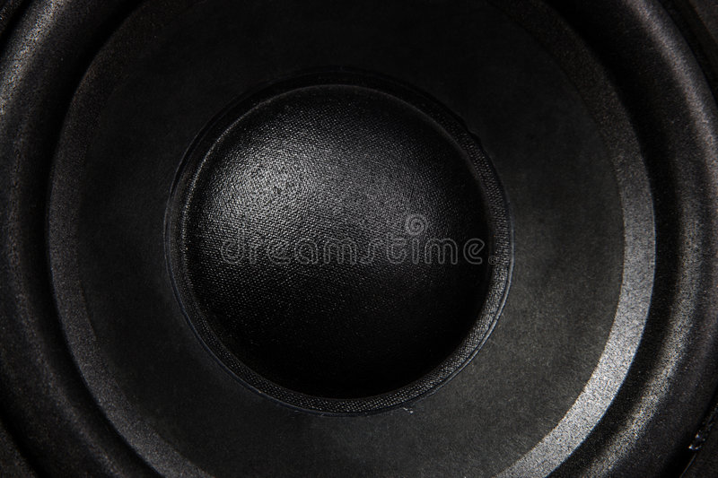 Black Speaker. A close up of a black bass speaker stock photography