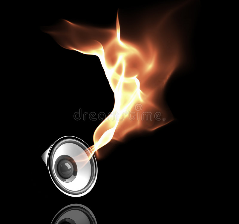 Black speaker with fiery sound waves stock illustration
